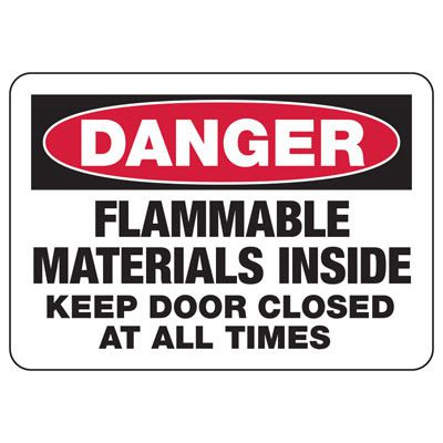 Danger Flammable Materials Inside - Industrial Chemical Warning Sign