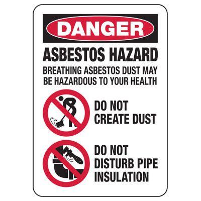 Danger Asbestos Hazard - Industrial Chemical Warning Sign