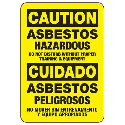 Bilingual Caution Asbestos - Industrial Chemical Warning Sign