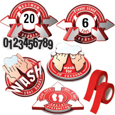 3D Social Distancing Label Kit for Classrooms - Red