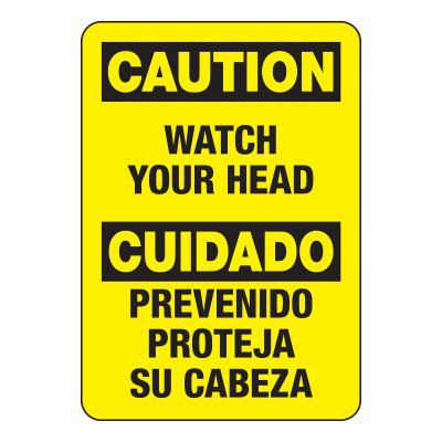 Bilingual Caution Watch Overhead - Heavy-Duty Construction Signs