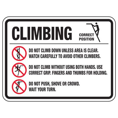 Climbing Do Not Climb Down - Playground Sign