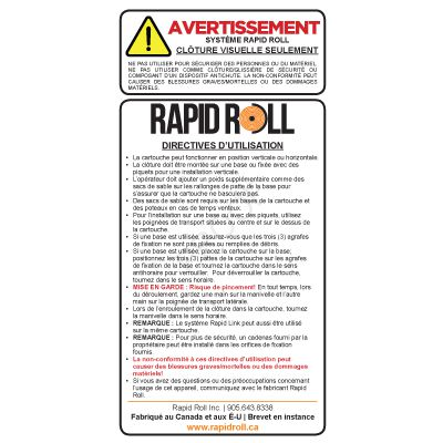 Clôture Visuelle Seulement - French RapidRoll Warning Label