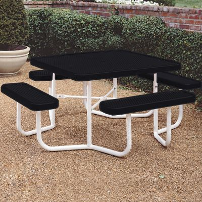 Coated Steel Square Picnic Tables- Traditional Seats