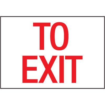 Cold Adhesion Safety Labels - To Exit