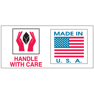 Handle With Care Made In U.S.A  Combination Shipping Labels