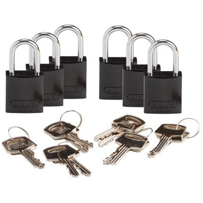 Brady Compact Keyed Alike 1 inch Shackle Aluminum Padlocks - Black - Part Number - 133293 - 6/Pack