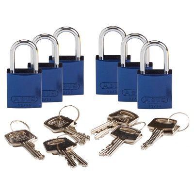 Brady Compact Keyed Alike 1 inch Shackle Aluminum Padlocks - Blue - Part Number - 133289 - 6/Pack