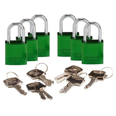 Brady Compact Keyed Alike 1 inch Shackle Aluminum Padlocks - Green - Part Number - 133290 - 6/Pack