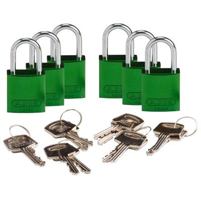 Brady Compact Keyed Different 1 inch Shackle Aluminum Padlocks - Green - Part Number - 133263 - 6/Pack