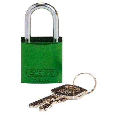 Brady Compact Keyed Different 1 inch Shackle Aluminum Padlocks - Green - Part Number - 133272 - 1/Each