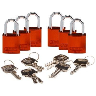 Brady Compact Keyed Alike 1 inch Shackle Aluminum Padlocks - Orange - Part Number - 133292 - 6/Pack