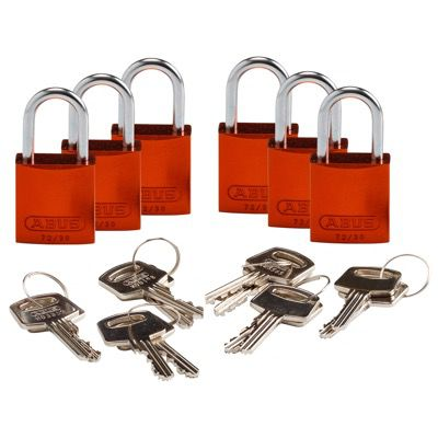Brady Compact Keyed Different 1 inch Shackle Aluminum Padlocks - Orange - Part Number - 133265 - 6/Pack