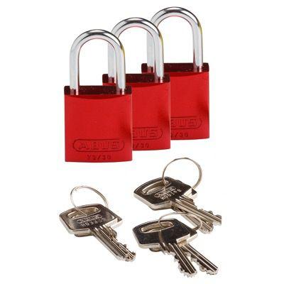 Brady Compact Keyed Alike 1 inch Shackle Aluminum Padlocks - Red - Part Number - 133279 - 3/Pack