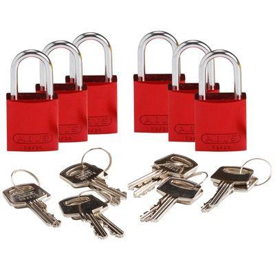 Brady Compact Keyed Alike 1 inch Shackle Aluminum Padlocks - Red - Part Number - 133288 - 6/Pack