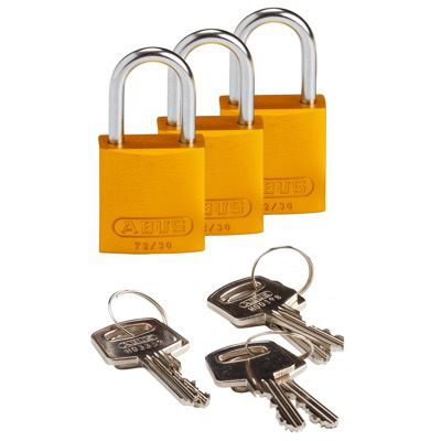 Brady Compact Keyed Alike 1 inch Shackle Aluminum Padlocks - Yellow - Part Number - 133282 - 3/Pack