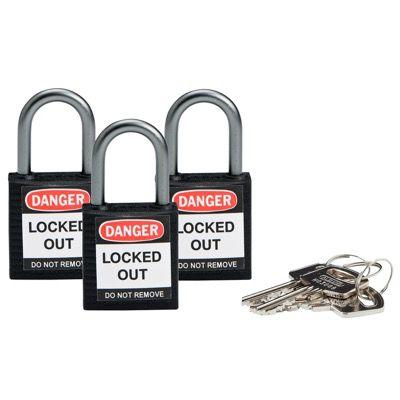 Brady Compact Keyed Alike 1 inch Shackle Safety Padlocks - Black - Part Number - 118969 - 3/Pack