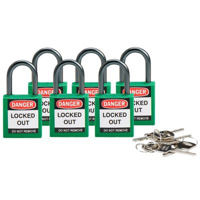 Brady Compact Keyed Alike 1 inch Shackle Safety Padlocks - Green - Part Number - 118956 - 6/Pack