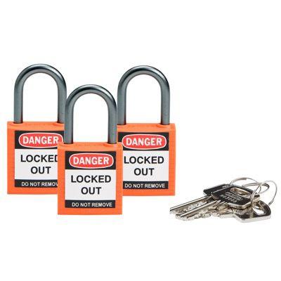 Brady Compact Keyed Alike 1 inch Shackle Safety Padlocks - Orange - Part Number - 118957 - 3/Pack