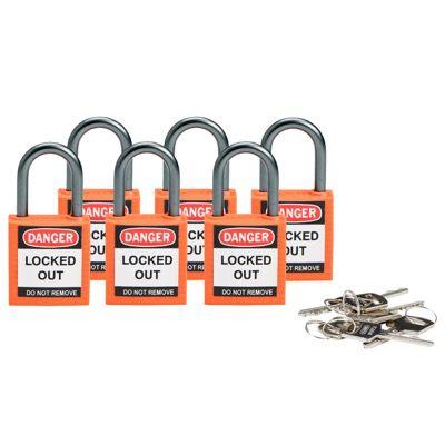 Brady Compact Keyed Alike 1 inch Shackle Safety Padlocks - Orange - Part Number - 118958 - 6/Pack
