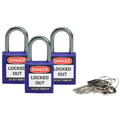 Brady Compact Keyed Alike 1 inch Shackle Safety Padlocks - Purple - Part Number - 118967 - 3/Pack