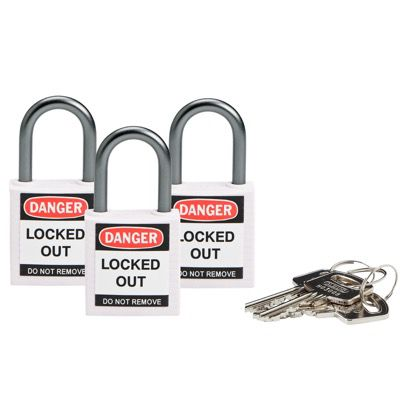 Brady Compact Keyed Alike 1 inch Shackle Safety Padlocks - White - Part Number - 118965 - 3/Pack