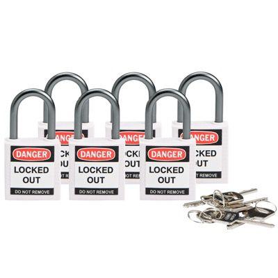 Brady Compact Keyed Alike 1 inch Shackle Safety Padlocks - White - Part Number - 118966 - 6/Pack