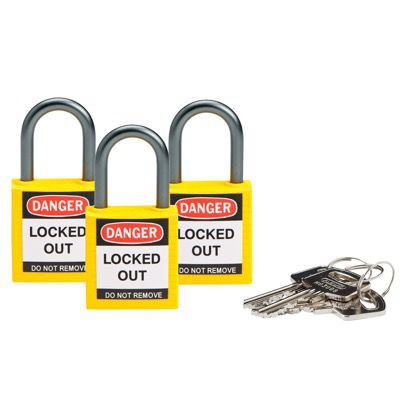 Brady Compact Keyed Alike 1 inch Shackle Safety Padlocks - Yellow - Part Number - 118961 - 3/Pack