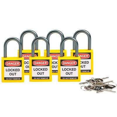 Brady Compact Keyed Alike 1 inch Shackle Safety Padlocks - Yellow - Part Number - 118962 - 6/Pack