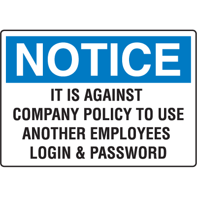 Notice Computer Security Signs - Login and Password