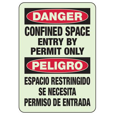 Confined Space Entry By Permit - Industrial OSHA Machine Hazard Sign