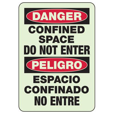Confined Space Do Not Enter - Bilingual OSHA Machine Hazard Sign