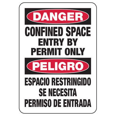 Bilingual Safety Signs - Confined Space Enter By Permit Only