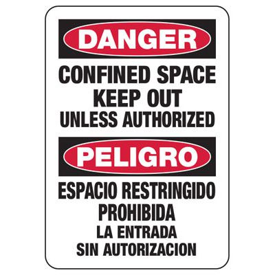 Confined Space Signs - Bilingual - Danger/Peligro - Keep Out