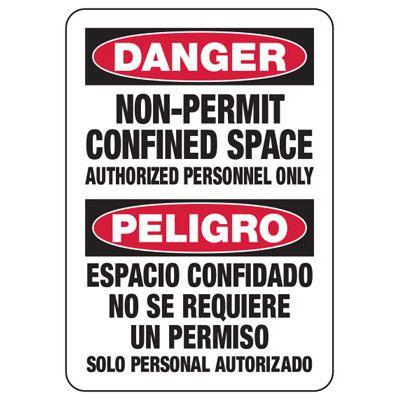 Confined Space Signs - Bilingual - Danger/Peligro - Non-Permit