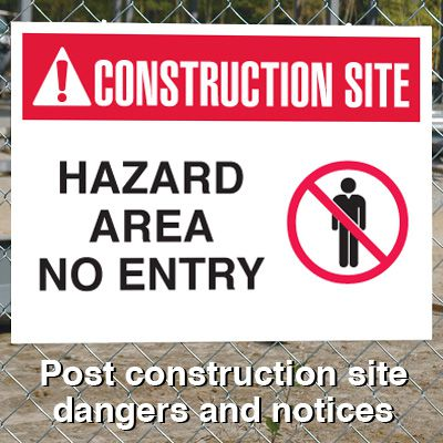 Construction Site Safety Signs - Hazard Area No Entry with Graphic