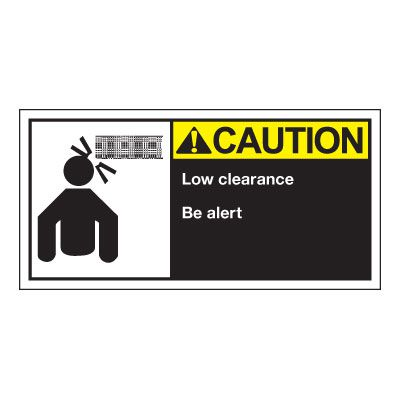 Conveyor Safety Labels - Caution Low Clearance