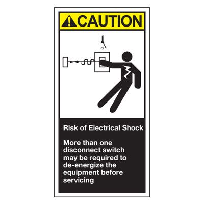 Conveyor Safety Labels - Caution Risk Of Electrical Shock