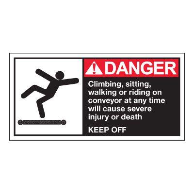 Conveyor Safety Labels - Danger Climbing