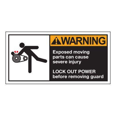 OSHA/ANSI Conveyor Safety Labels - Warning, Exposed Moving Parts