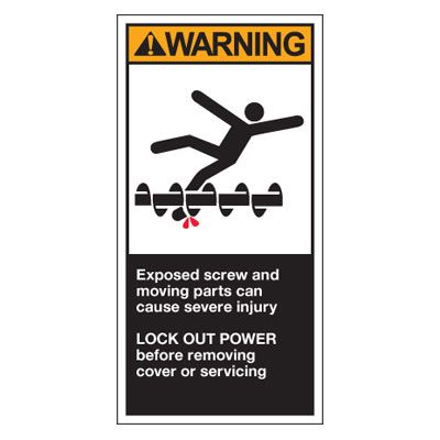OSHA/ANSI Conveyor Safety Labels - Exposed Screw/Moving Parts
