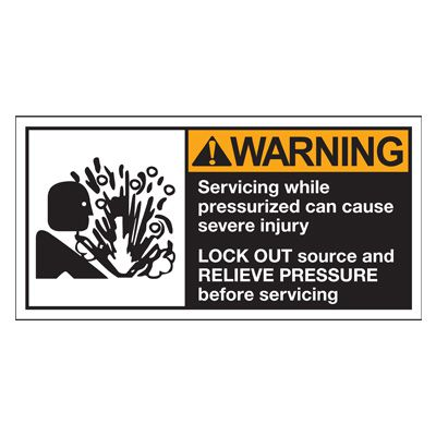 Conveyor Safety Labels - Warning Servicing While Pressurized