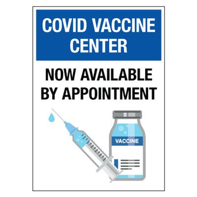 COVID Vaccine Center - Now Available By Appointment Decal