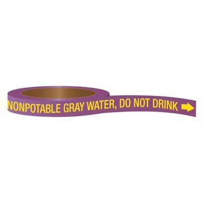 CPVC-Code™ Nonpotable Water Roll Pipe Markers - Gray Water