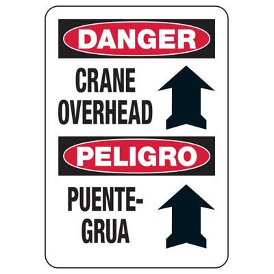 Crane Safety Signs - Bilingual - Danger - Crane Overhead