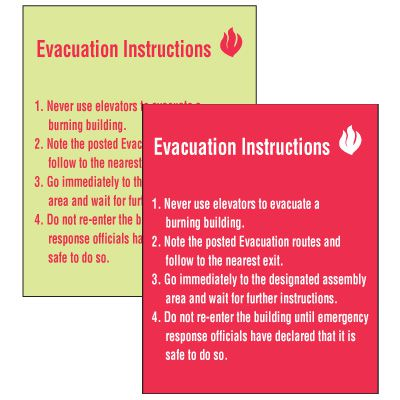 Custom Evacuation Procedure Signs