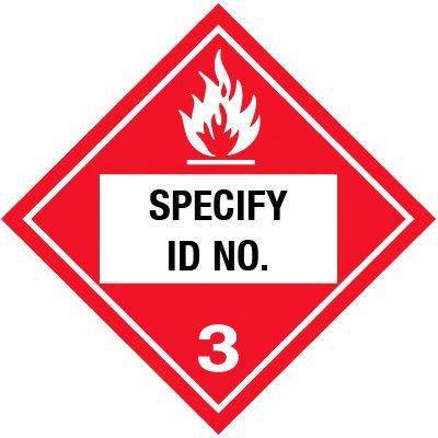 Custom Class 3 Flammable DOT Placard