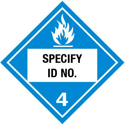 Custom Class 4 Flammable DOT Placard