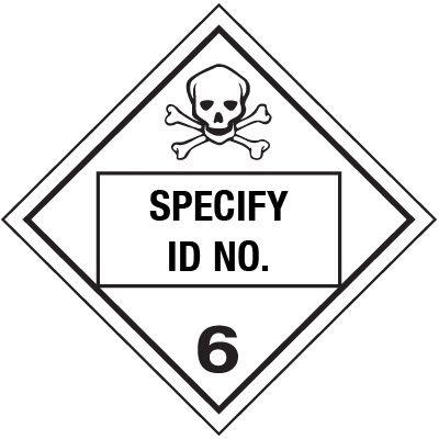 Custom Class 6 Toxic DOT Placard