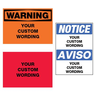 Custom ToughWash® Harsh Washdown Adhesive Signs